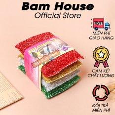 Bộ 4 miếng rửa chén kim tuyến Bam House đa năng siêu sạch cao cấp BRH01 – Bam House