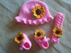 Set giày mũ và băng đô cho bé hoa hướng dương
