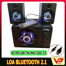 Loa bluetooth Vking 2.1 bass mạnh có đèn led có khe cắm USB thẻ nhớ hỗ trợ bluetooth jack 3.5 dùng được điên thoại laptop