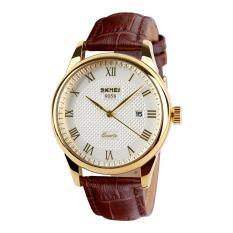 Đồng hồ nam dây da Skmei 9058 (Dây nâu Mặt trắng Viền vàng)