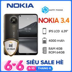 [VOUCHER 8% TỐI ĐA 800K] Điện Thoại Nokia 3.4 (4GB/64GB)- Hàng Chính Hãng, Mới 100%, Nguyên Seal, Bảo hành 12 tháng