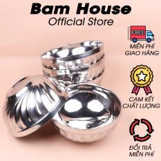 Bộ 5 tô inox Bam House 2 lớp cách nhiệt 16cm cao cấp T01 – Bam House