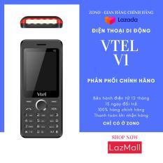 Điện thoại di động GSM Vtel V1 (2 SIM, Màu Đen viền đỏ) bàn phím ấn êm tay, Giao diện đơn giản, Có chức năng FM loa ngoài, Camera sau, Pin bền, Thiết kế thời trang, Dễ sử dụng, Vừa túi tiền, 2 SIM 2 sóng – Bảo Hành 12 Tháng
