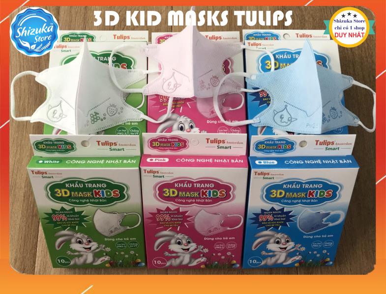 Khẩu trang em bé ❤️[5 hộp=50 cái], kháng khuẩn 4 lớp Công nghệ Nhật Bản, thương hiệu 3D Smart Kid Tulips