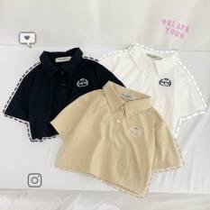 [HCM]Áo thun croptop nữ cổ sơ mi trẻ trung năng động áo thun cotton co giãn thoải mái thấm hút tốt giá cực rẽ
