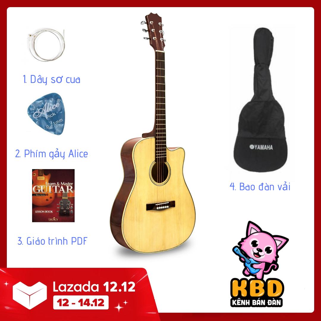 Bộ Đàn Guitar Acoustic màu nâu hạt dẻ VAKTN1600 và Phụ kiện