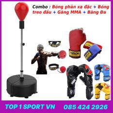 Bao cát trụ đấm bốc boxing phản xạ tặng găng tay đấm bốc boxing MMA Fighter + băng đa + bóng treo đầu – Bảo hành 12 tháng
