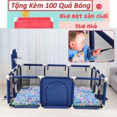 Nhà Bóng Mini Kiêm Bóng Rổ Cho Bé 180cm*120cm, Tặng Kèm 100 Quả Bóng + Rổ Lưới + Thảm Lót Sàn – Khung Inox không gỉ – quà tặng cho bé