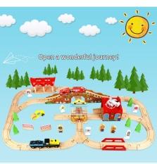 EDWONE, Mô hình đường ray xe lửa gỗ 80 chi tiết, Mẫu garage sân bay 80pcs kèm xe điện