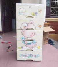 Tủ nhựa gấu 5 tầng có khóa ( cho mẹ và bé ) – GIA DỤNG ĐÓ ĐÂY