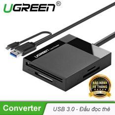 Đầu đọc thẻ USB 3.0 hỗ trợ thẻ TF/SD/CF/MS dài 0.5m UGREEN CR125 30230 – Hãng phân phối chính thức