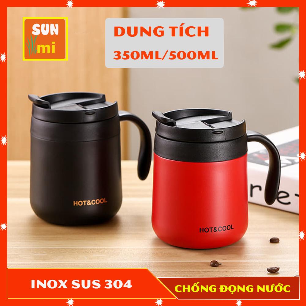 Ly Giữ Nhiệt Cốc Giữ Nhiệt Đựng Coffee Lõi INOX 304 Cao Cấp Có Tay Cầm Kiểu Dáng 2020 Siêu Sang Chảnh