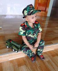 Bộ quần áo rằn ri trẻ em, lính trẻ em kèm nón 1-12 tuổi