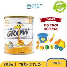 Lon sữa bột Abbott Grow 4 900g cho trẻ trên 2 tuổi giàu dưỡng chất và protein chất lượng cao tặng bộ đồ chơi xúc cát