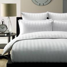 Bộ ga gối cotton trắng sọc (Bộ 3 món )(180x200x25)