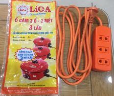 Ổ cắm điện 3 lỗ Dây Dài 3 Mét tải 3 nồi lẩu Lioa S3TC vỏ nhựa bền màu cam
