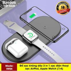 Sạc nhanh không dây hãng Baseus IW04 siêu mỏng sạc 3in1 cho smartphone, iphone X, XS, Xs Max , Applewatch và tai nghe Airpod