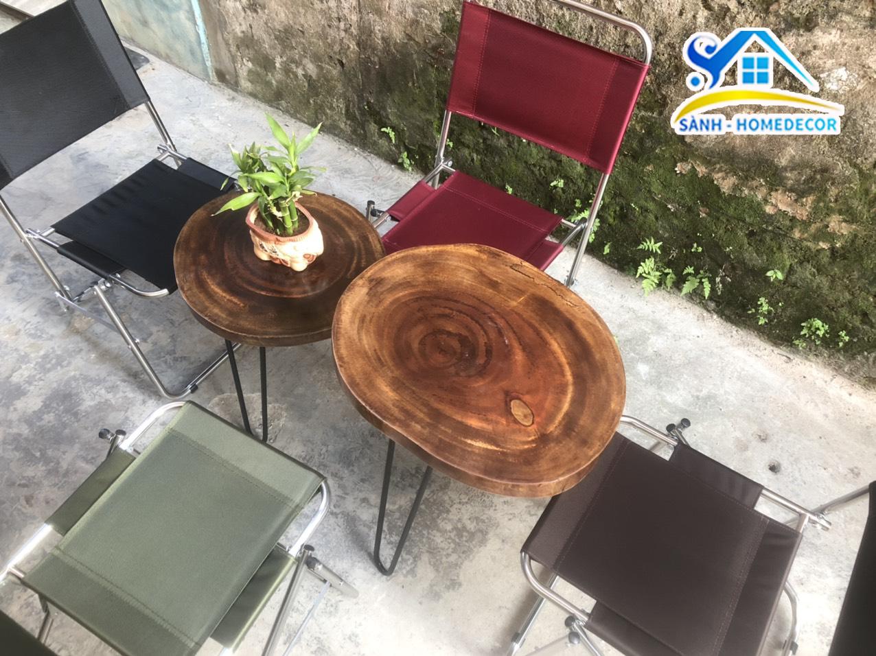 Bộ bàn trà , bàn cafe gỗ xà xừ nguyên tấm cao cấp gồm 2 bàn và 4 ghế
