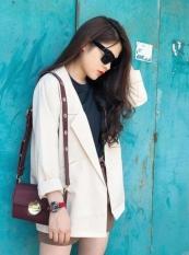 Áo Blazer nữ trắng kem 1 lớp cao cấp