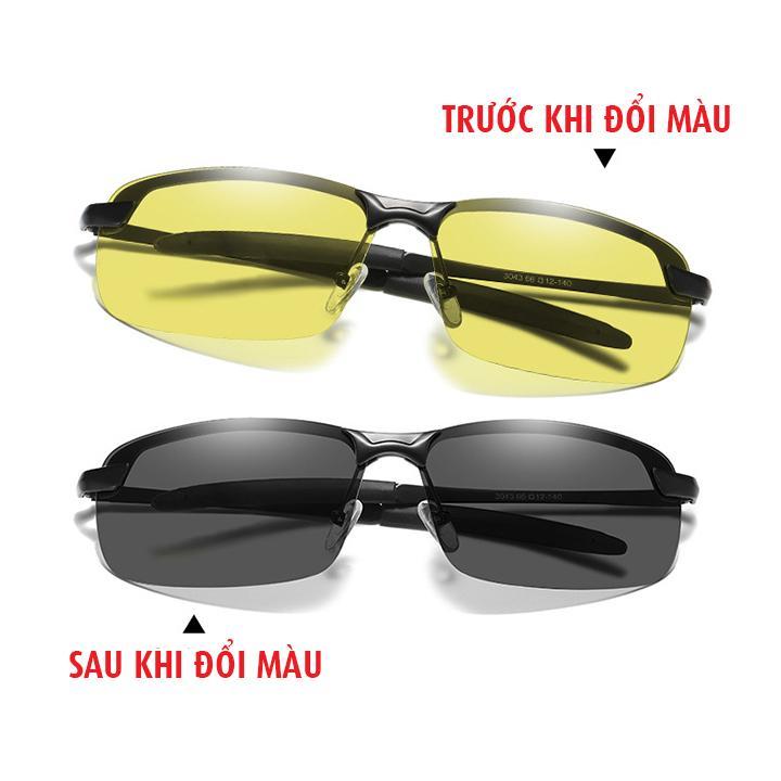 Kính đổi màu đi ngày và đêm gọng kim loại nhẹ, mắt kính polarized phân cực, chống UV400, tặng kèm...