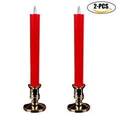 1 cặp Đèn Điện Nhân Tạo Hoạt Động Bằng Pin Đèn Nến Flameless Nến Đốt Nến-quốc tế