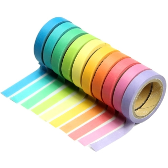 10 Pcs DIY Mixed Color Writable Tearable Decorative Sticky PaperMasking Adhesive Tape Set Note Scrapbook Random Color - intl