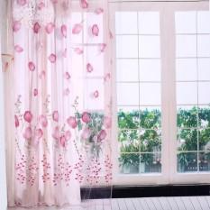 epayst 100*200cm Tulips Printing Tulle Curtains Sheer Drape Balcony Window Decoration Pink