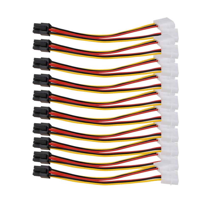 Bảng giá Mua 10PCS Molex (4 Pin) to PCI-E (6 Pin) Power Converter Adapter Connector - intl