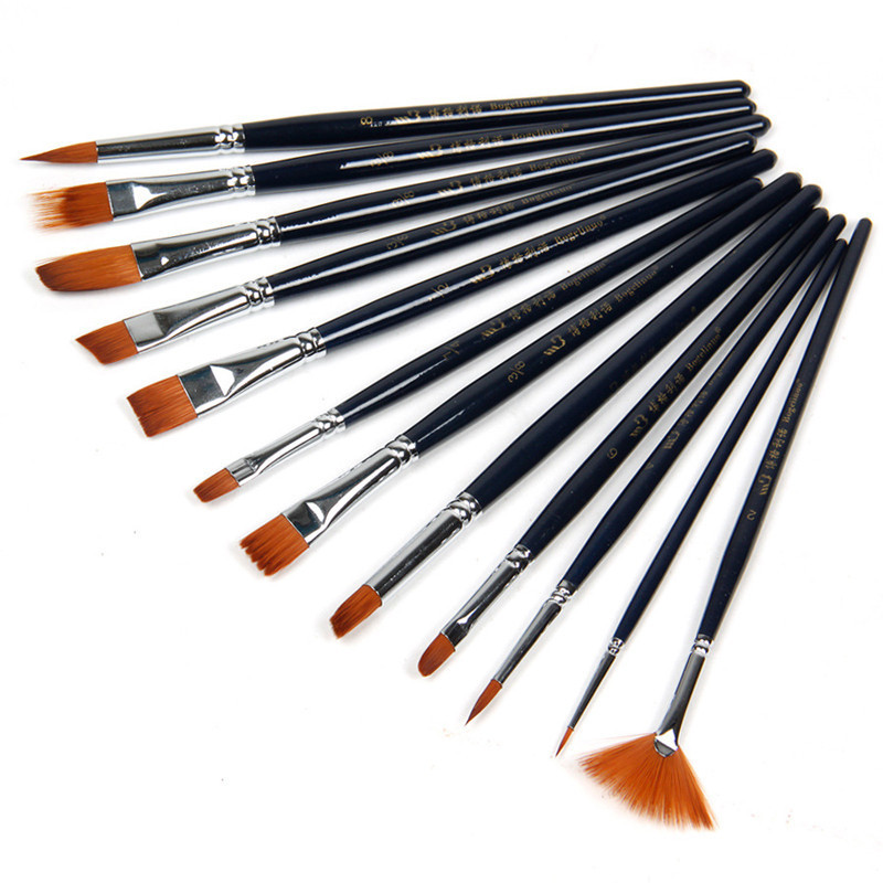 Mua 12 x Nylon Hair Paint Brush Set Artist Watercolor Acrylic Oil Painting Supplies (Black)