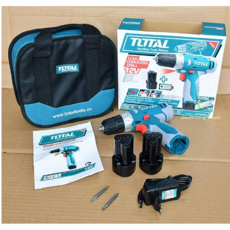 12V - Máy khoan vặn vít dùng pin Li-ion TOTAL TDLI228120 (Túi vải + 2 Pin Li-on + 2 mũi khoan)