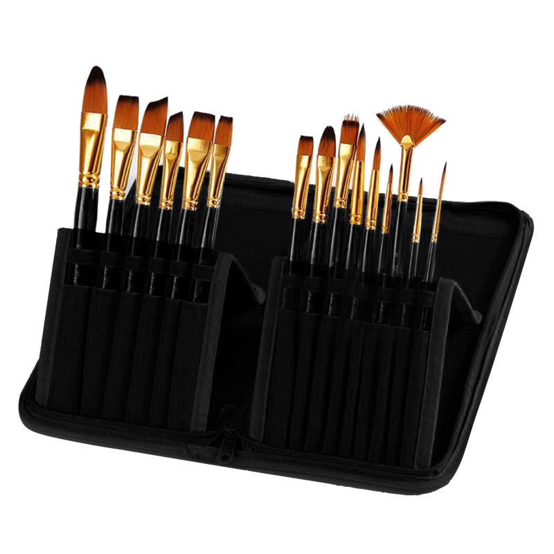 Mua 15 Pcs Multi-functional Wooden Handle Nylon Hair Artist Watercolor Oil Painting Brush Pen Set with Canvas Storage Bag