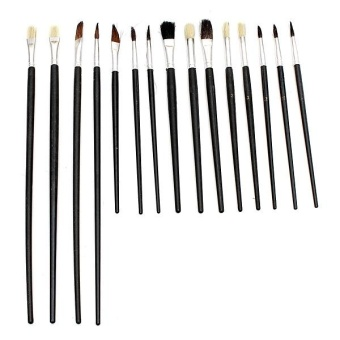 15Pcs Artist Paint Brushes Set Assorted Size Painting Oil Acrylic Watercolor Kit - intl