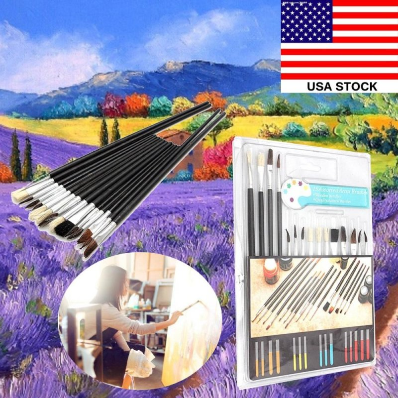 Mua 15Pcs Artist Paint Brushes Set Assorted Size Painting Oil Acrylic Watercolor Kit - intl