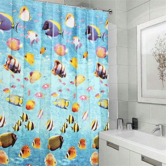 180 x 180 cm PEVA Waterproof Modern Bathroom Shower Curtain with 12 Ring Hooks - intl
