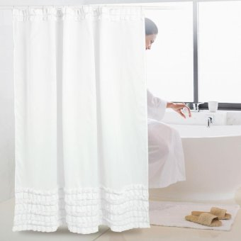 180*180cm Pure White Lotus Lace Curtain Polyester Waterproof AntiMildew Shower Curtain with Hooks - intl