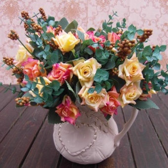1Bunch Artificial Rose Silk Flowers Home Party Decor FlowerArrangment - intl