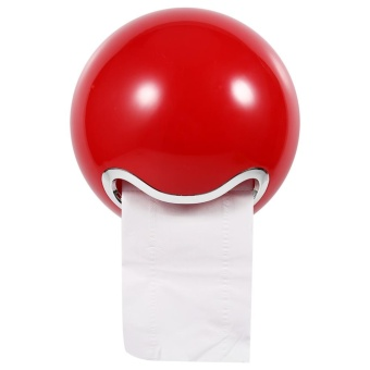 1pc Cute Ball Shaped ABS Bathroom Wall Mounted Toilet Paper RollHolder Tissue Rack (Red) - intl