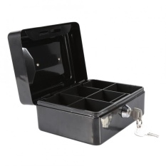 1Pc Mini Portable Steel Petty Lockable Cash Money Coin Safe Security Box Household (Black) – intl