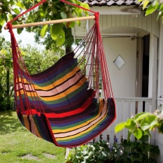 2 PCS Garden Patio Porch Hanging Cotton Rope Swing Chair Seat Hammock Swinging Wood - intl
