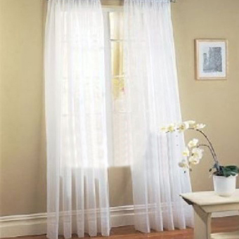 2 Pcs. Sheer Voile Window Panel curtains DRAPE White (Intl)
