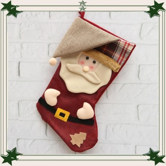 2016 New Year Christmas Stocking Snowman Plaid Bag Candy Bag Gift Ornament Sock - intl