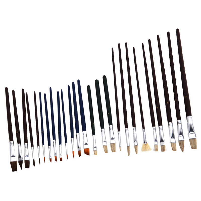 Mua 25 Pcs Multi-functional Wooden Handle Nylon Hair Artist Watercolor Oil Painting Brush Pen Set