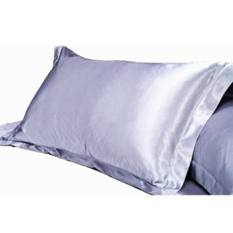 2pc Standard Silk~y Satin Pillow Case Multiple Colors Silver - intl