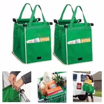 2pcs set Reusable Ecofriendly Grocery Shopping Grab Bags Clip toCart Trolley - intl