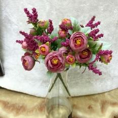 3 nhánh Hoa Giả Hoa Để Bàn Hoa Trang Trí – Hoa Trà LớN màu tím cổ điển R
