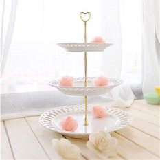 3 Tier Heart Shape Metal Fruit Cake Plate Stand Handle Fitting Wedding Party – intl