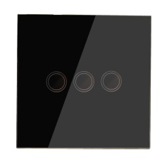 3 Way Crystal Touch Panel Dimmer Light Power Ring Wall LED Samrt Switch Remote Black - intl