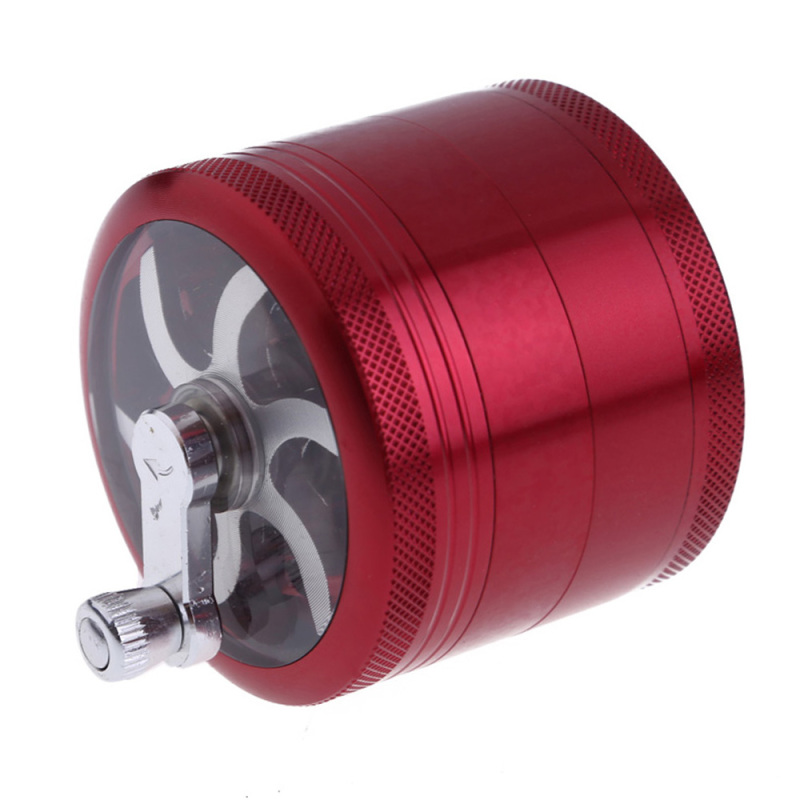 4 Layers Alloy Hand Crank Herb Grinder Wine red