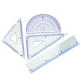 4 PCS Math Geometry Tool Clear Plastic Ruler Sets ProtractorTriangle Rulers Students Stationery - intl