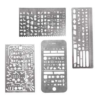 4 PCS Portable Stainless Steel Multi Functional Drawing TemplateRuler Stencil for Agenda Planner Journal Scrapbook Schedule BookDiary - intl